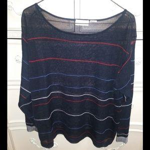 Mesh Stripe Colored Blouse